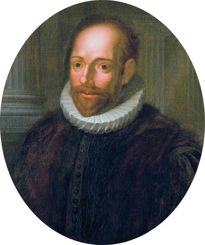Jacobus Arminius op een schilderij van Hieronymus van der Mij.
