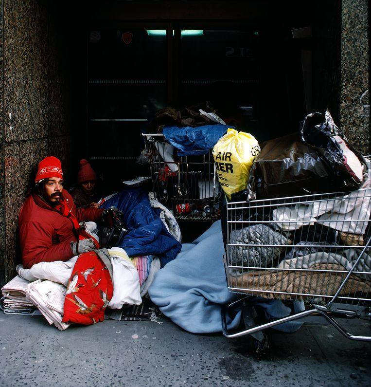 Een dakloze in de straten van New York, 1999. Beeld Corbis via Getty Images