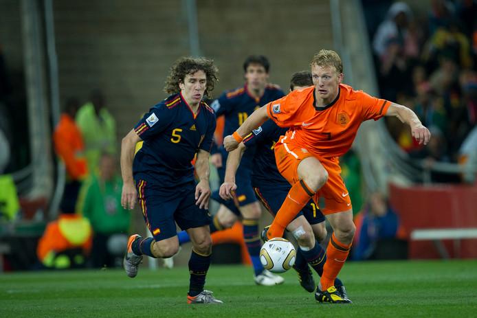 Dirk Kuyt in actie tijdens de WK-finale tegen Spanje in 2010.