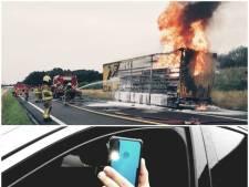 Politie grijpt in bij brandende truck op A50 bij Apeldoorn: bijna 40.000 euro aan boetes