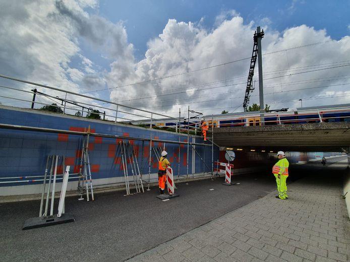 Werk aan het nieuwe viaduct bij de Koggetunnel.