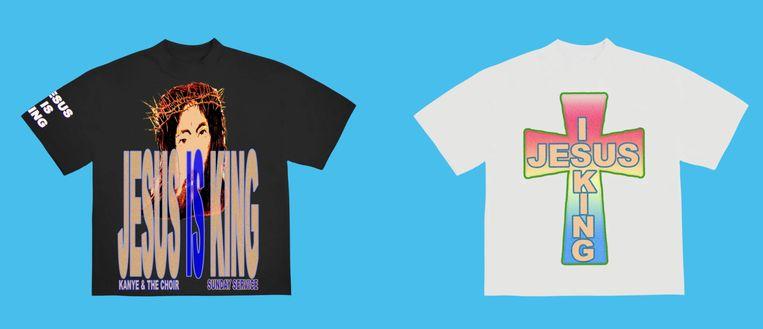 T-shirts die Kanye West verkoopt ter gelegenheid van het verschijnen van zijn album Jesus is King. Beeld Webshop Kanye West