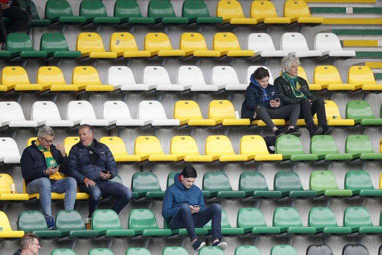 ADO-supporters voorafgaand aan de wedstrijd onlangs tegen Fortuna Sittard (0-3).  Beeld ANP