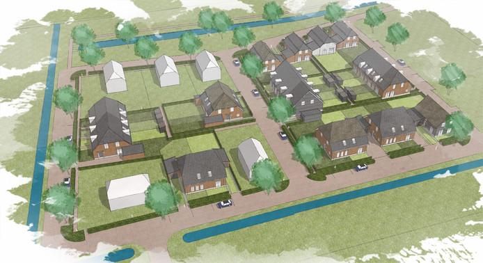 Voorlopige schets van het woonveld met 25 woningen.