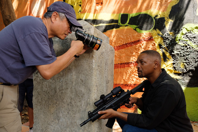 """Ang Lee et Will Smith sur le tournage de """"Gemini Man""""."""