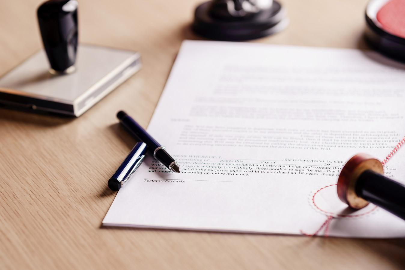 Notaris notariskantoor testament document notary administratie