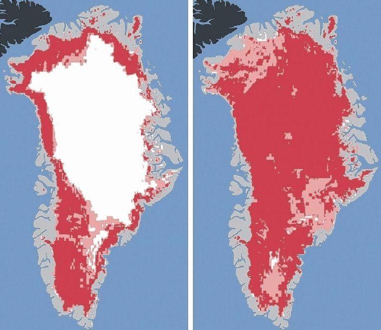 Satellietopnamen van Groenland, 2012. Rood en roze zijn gebieden waar smeltwater werd gezien op de ijskap. En in de zomer kan dat snel gaan: de opname links is van 8 juli, rechts van 12 juli. Beeld NASA