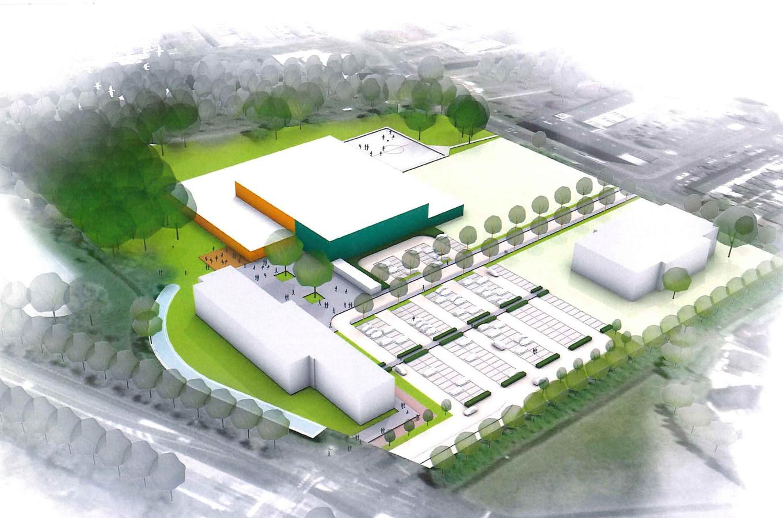 Een artist impression van hoe de terrein van het Vitalis College er in 2022 uit zou kunnen zien, met linksachter het Talentencentrum.