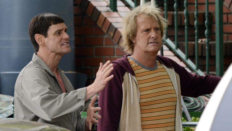 Jim Carrey (links) en Jeff Daniels in de film Dumb and Dumber To. Beeld EPA