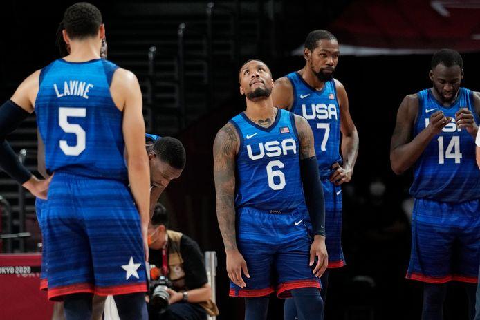 Damian Lillard, Kevin Durant en Draymond Green na de nederlaag tegen Frankrijk.