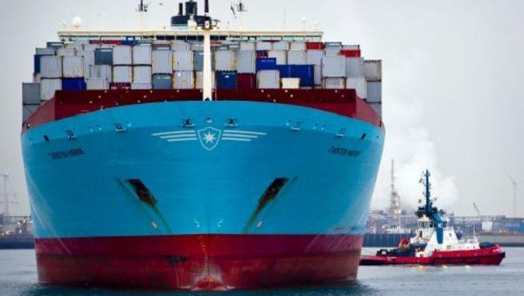Het Japanse vrachtschip Carsten Maersk arriveert donderdag in de haven van Rotterdam. Foto ANP Beeld
