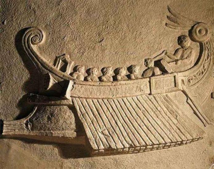 Dit is een depictie van een Romeins oorlogsschip tijdens de Slag om de Aegaten. Aan de linkerkant is een stormram te zien.