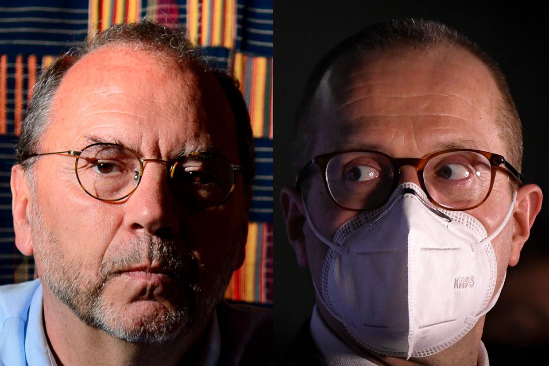 Peter Piot en Hans Kluge. 'Wie kritiek heeft op Europa, moet beseffen dat kleine landen als België nu nog altijd geen vaccins zouden hebben zonder die deal van de Europese Commissie.' Beeld DM
