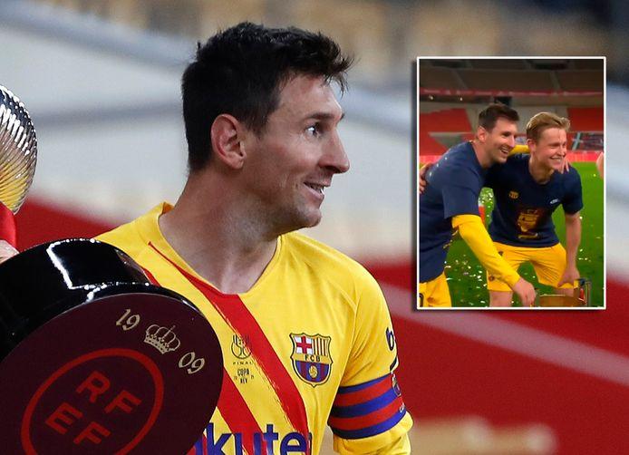 Lionel Messi. Inzet: Frenkie de Jong gaat op de foto met de superster.
