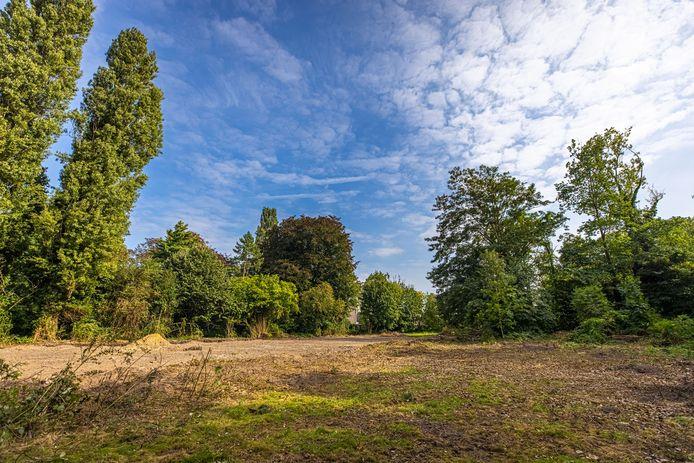Op deze vlakte moeten er binnenkort nieuwbouwappartementen verschijnen. Merk op dat de oude bomen, waaronder een eik van 150 jaar oud, behouden bleven.