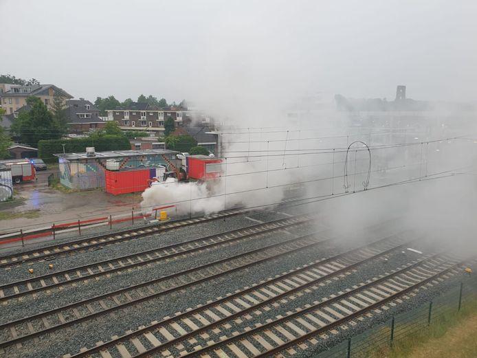 Brand bij station Oldenzaal.