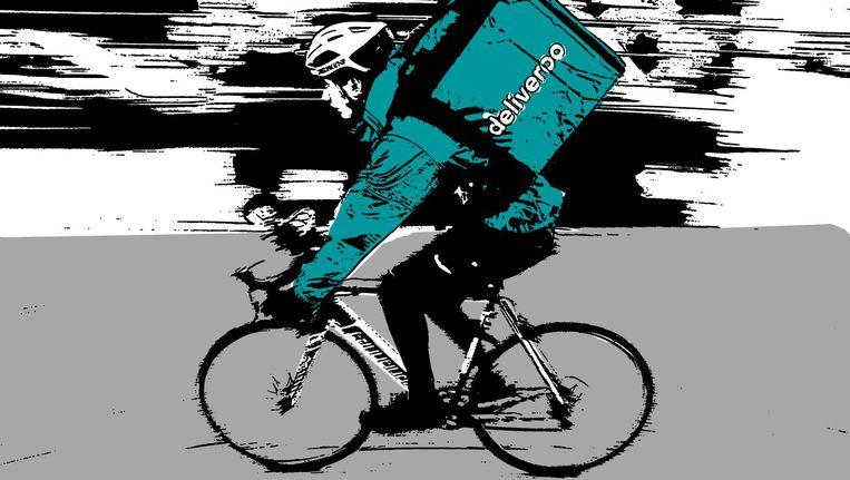 Door weer en wind fietsen zwaarbeladen maaltijdbezorgers door de stad Beeld AFP/beeldbewerking Het Parool
