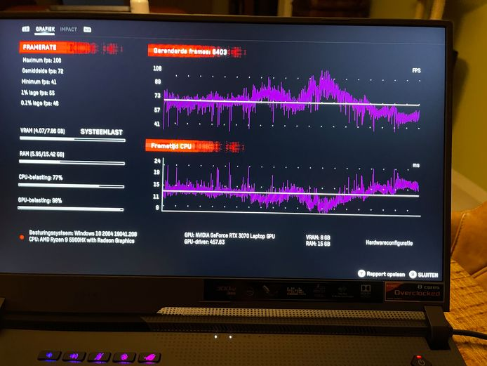 We runden de interne 'benchmark' van de game 'Watch_Dogs Legion'. Merk op hoe de game, die we in de ultra-instellingen zetten, nergens de hardware van het toestel écht op de proef stelt.