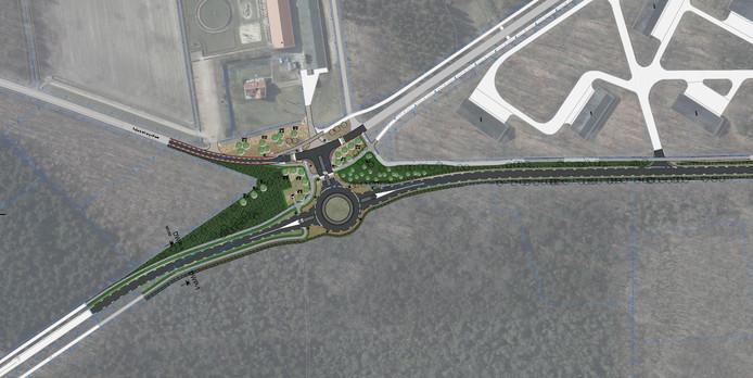 De nieuwe rotonde met een aparte afslag voor bestemmingsverkeer naar de Zundertseweg.