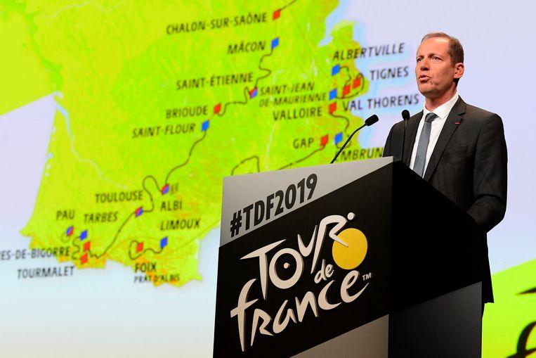 Christian Prudhomme, de organisator Tour de France, stelt het parcours voor. Beeld Photo News