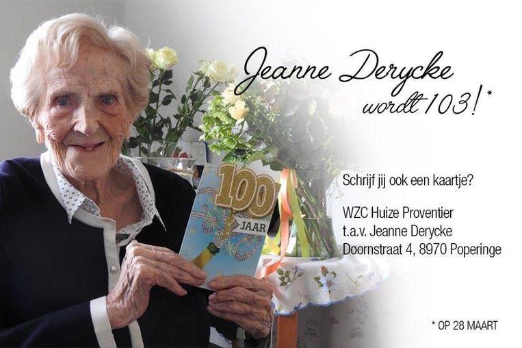 Jeanne Derycke wordt 103 jaar. Wie stuurt haar een kaartje?