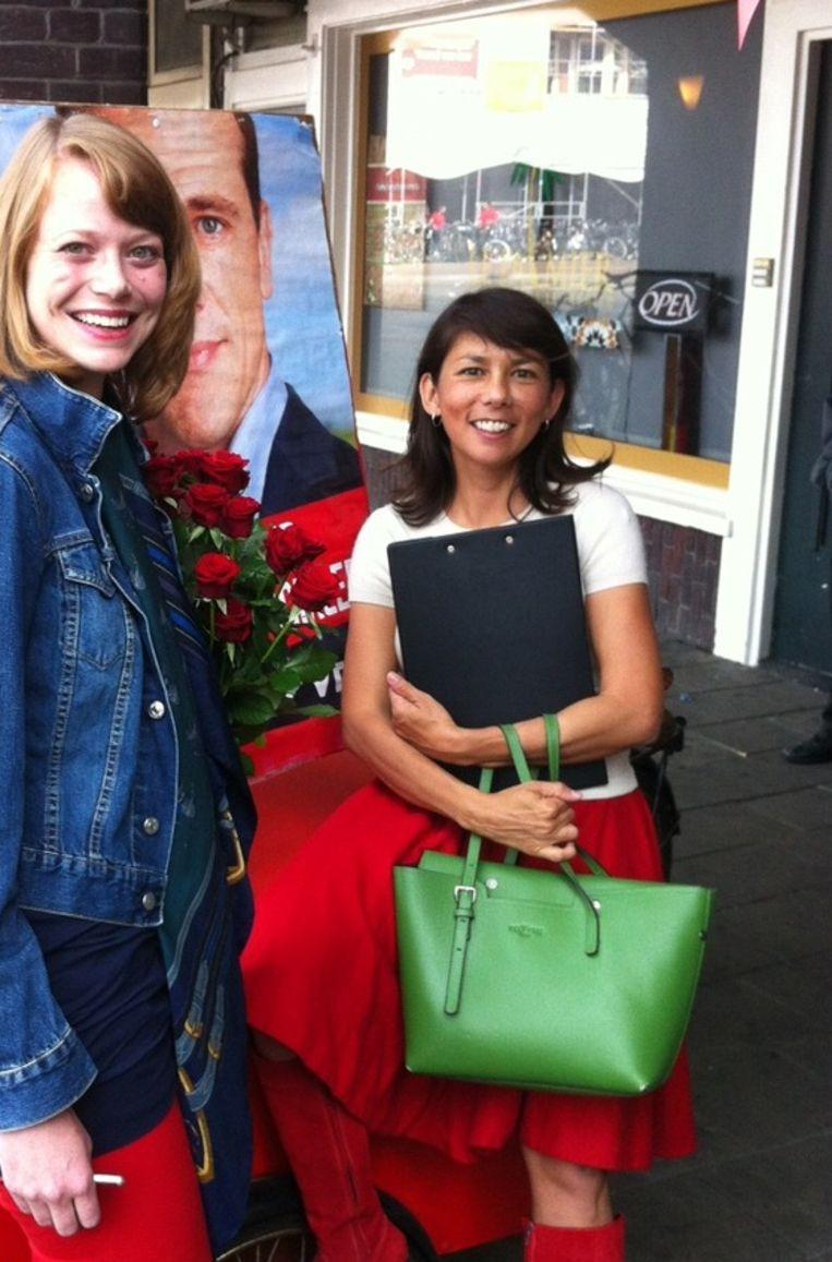 Mei Li voor haar campagnekantoor in Amsterdam-West Beeld