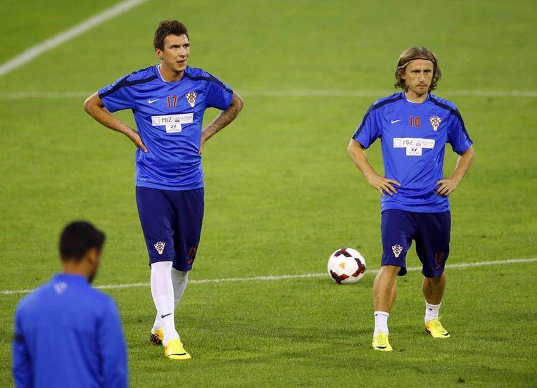 Sterspelers Mandzukic en Modric. Beeld REUTERS
