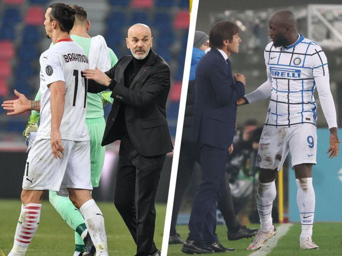 Links: Ibrahimovic en Pioli. Rechts: Conte en Lukaku.