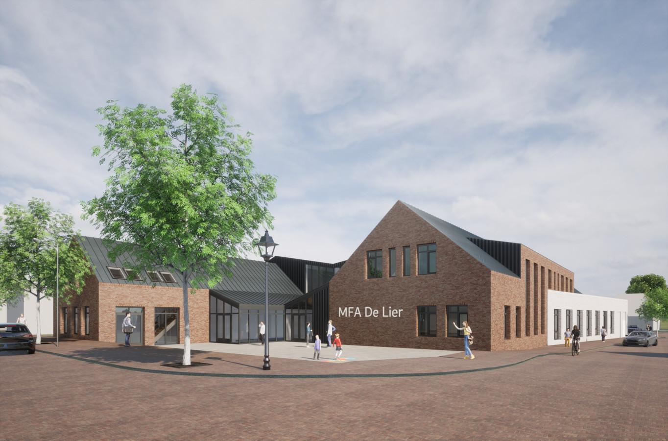 Het eerste ontwerp van het nieuw mfa De Lier in Puiflijk. Het is een voorbeeld, een basis. Het definitieve ontwerp bespreekt de gemeente samen met de inwoners van Puiflijk.