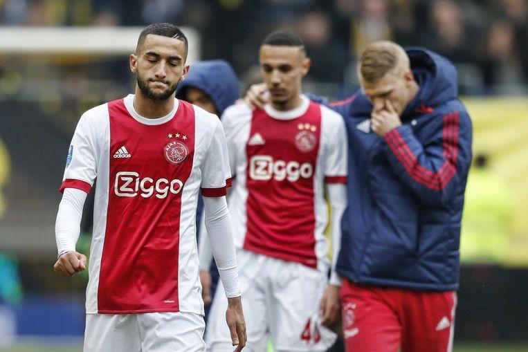 Ajax-speler Hakim Ziyech baalt na afloop van de wedstrijd. Beeld ANP Pro Shots