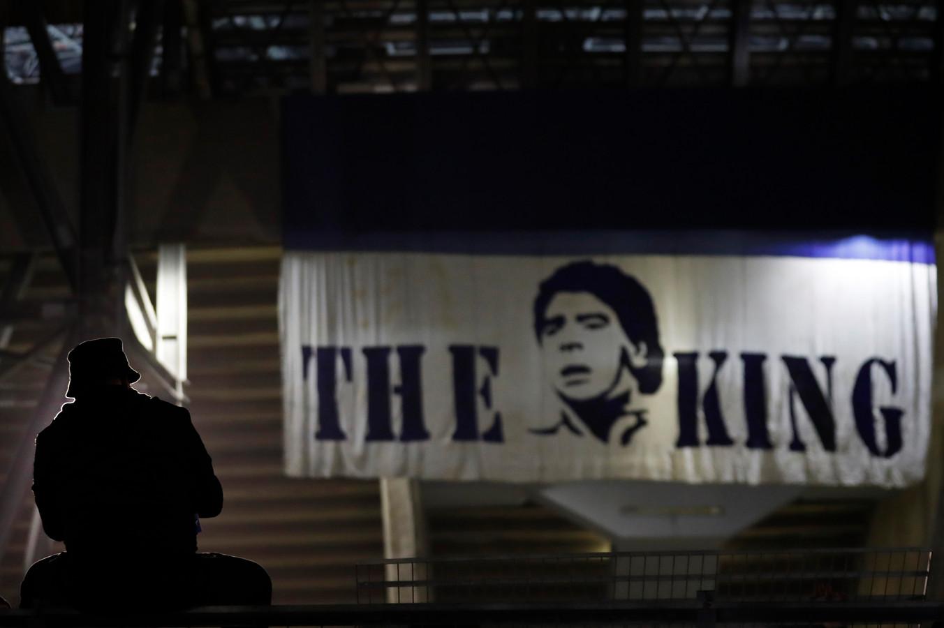 Een spandoek van Maradona.