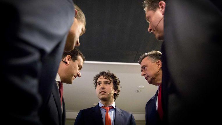 Buma, Asscher, Klaver, Roemer en Pechtold, de deelnemers van het RTL-debat. Beeld anp