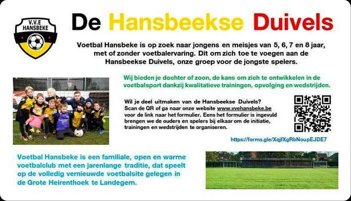 VVE wil haar jeugdwerking nieuw leven inblazen met de Hansbeekse Duivels.