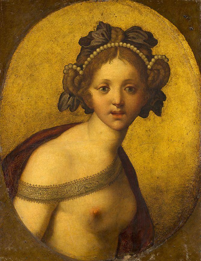 'Vrouwelijke figuur' (Een godin?). Figuurstuk op goudleer. Van anoniem Italiaans kunstenaar (c. 1500-1550?). Ontdekt in depot van het Mauritshuis, Den Haag. Ontdekt in voorbereiding op tentoonstelling. Ontdekking naar buiten gebracht op 2 februari 2016.