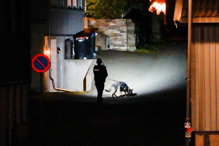 Politie in Kongsberg na de aanval woensdagavond.  Beeld AP