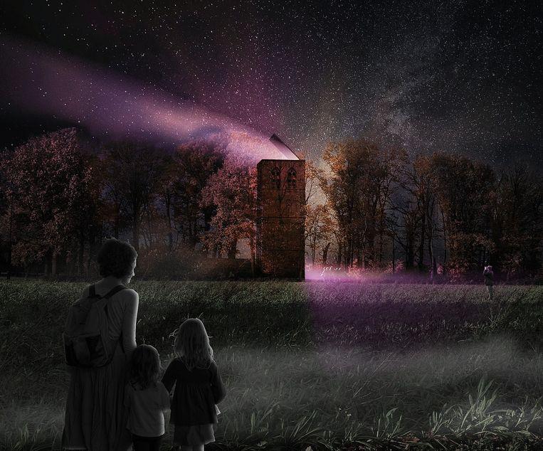 Artist impression bij nacht (het huidige ontwerp heeft geen verlichting vanwege de beschermde vleermuizen). Beeld Studio Marco Vermeulen