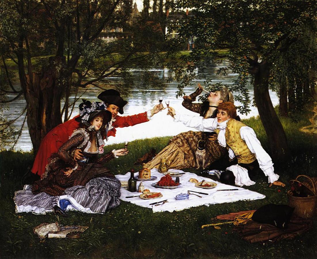 Afbeelding van een picknick uit het boek Trek.