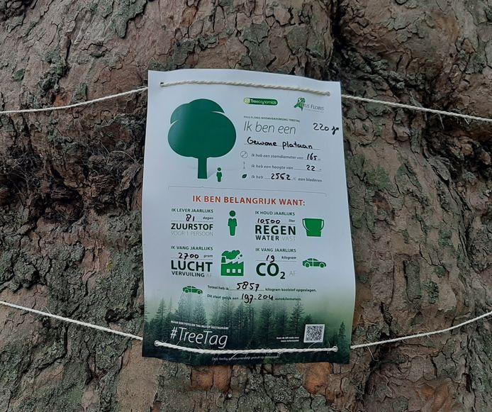 Een tree-tag zoals die al in Rotterdam is geplaatst.