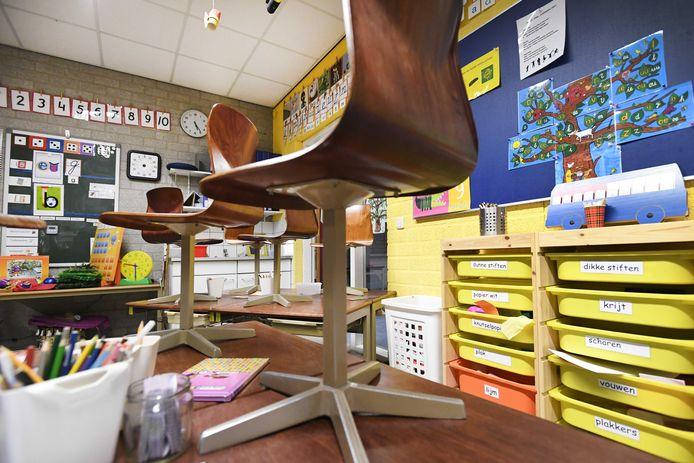 Het klaslokaal van een basisschool, ter illustratie.