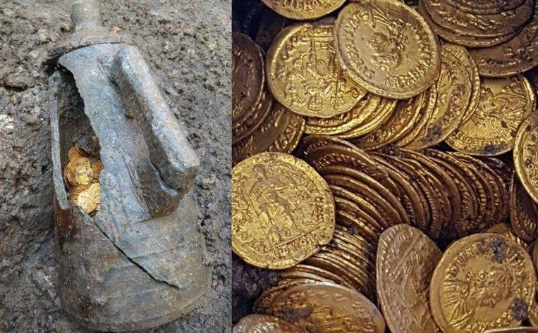 De urn waarin de munten gevonden werden.