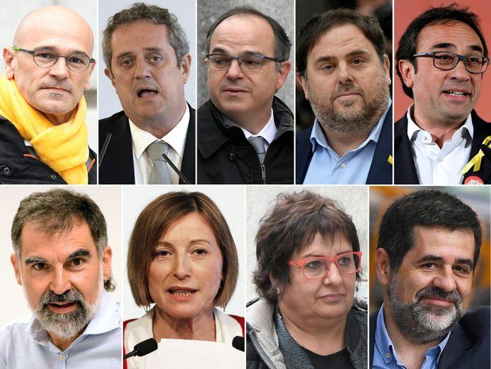 Deze negen politici en Catalaanse leiders stonden dit voorjaar terecht tijdens het proces: bovenaan vlnr. voormalig minister van Buitenlandse Zaken Raul Romeva, Joaquim Forn, Jordi Turull, voormalige vicepremier Oriol Junqueras, Josep Rull, onderaan voorzitter van de ngo Òmnium Cultural Jordi Cuixart, ex-parlementsvoorzitter Carme Forcadell, Dolors Bassa en voormalig voorzitter van de drukkingsgroep Catalaanse Nationale Assemblee Jordi Sanchez. Drie andere politici staan ook terecht, maar zijn voorlopig op vrije voeten.