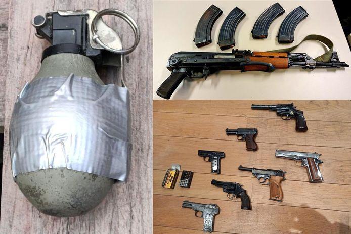 Bij de 13 huiszoekingen in en rondom Mechelen werd een aanzienlijke hoeveelheid wapens en munitie in beslag genomen.
