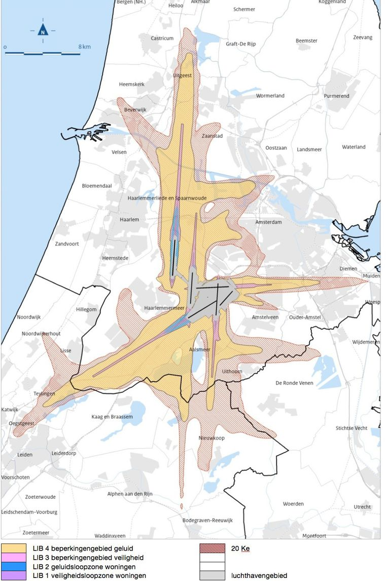 Alleen in de gebieden die dicht bij de start- en landingsbanen liggen, de zogeheten LIB4-locaties, wordt de woningbouw beperkt. Beeld -