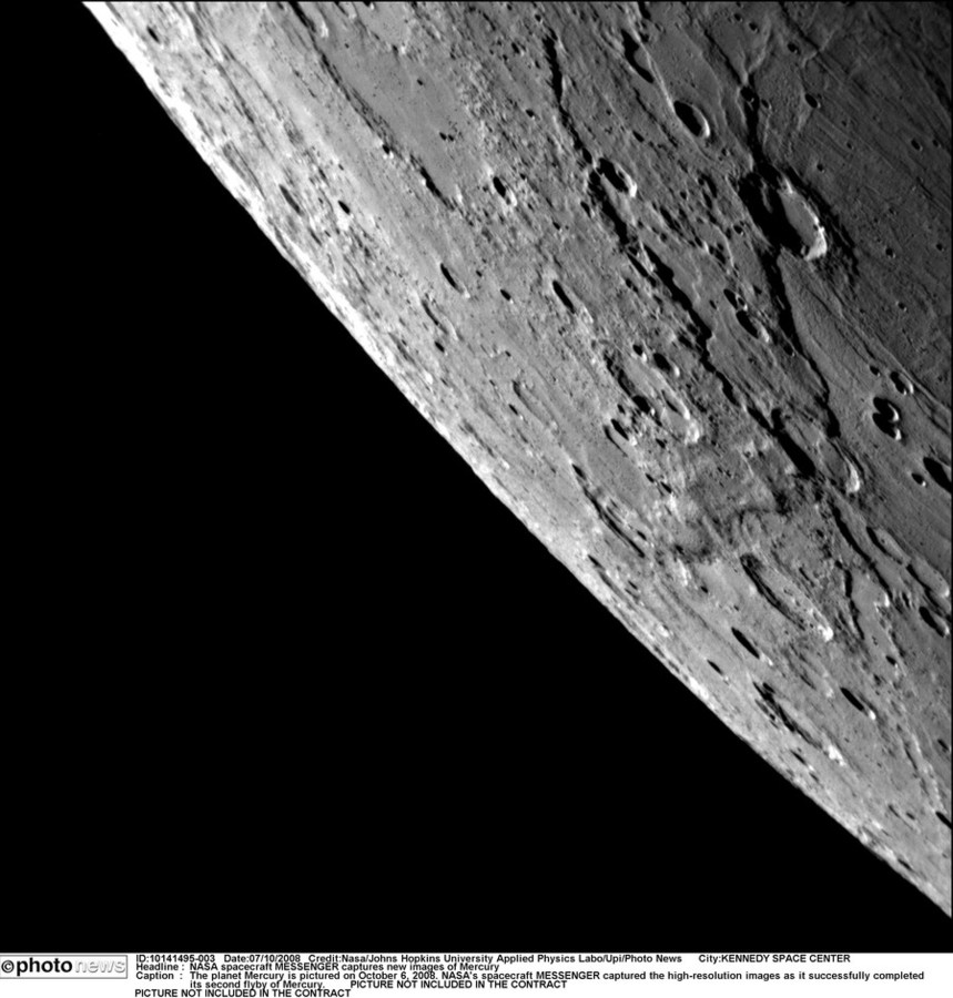 Het oppervlak van Mercurius.