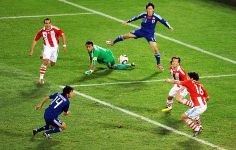 Kengo Nakamura van Japan mist een kans om te scoren tijdens de verlenging. ANP Beeld