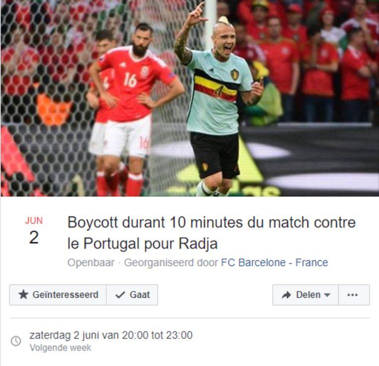 Facebook-pagina wil eerstvolgende wedstrijd Rode Duivels tien minuten lang boycotten.
