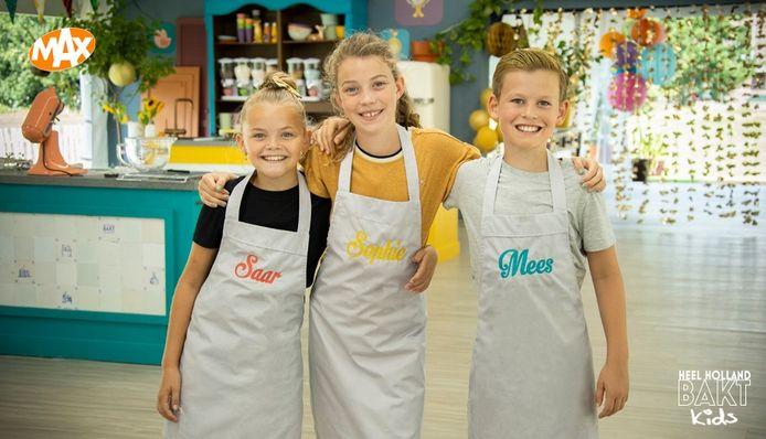 Saar (links, 9) heeft Heel Holland Bakt Kids gewonnen