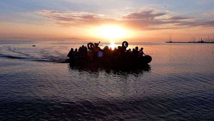 Syrische migranten komen aan in Kos.