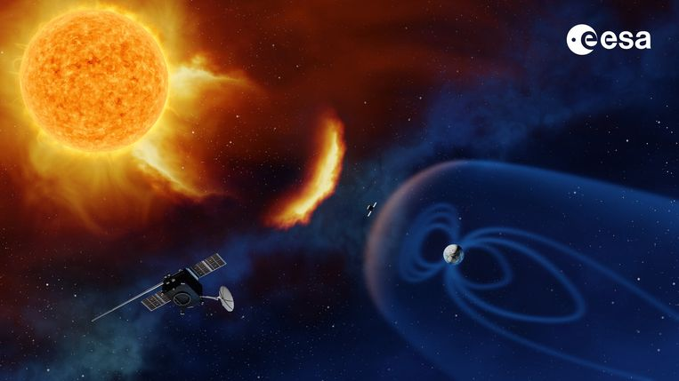 De nieuwste satelliet van ESA moet zonnestormen beter in kaart brengen. Het ruimteweerbericht krijgt zo een - erg belangrijke - update. Beeld ESA