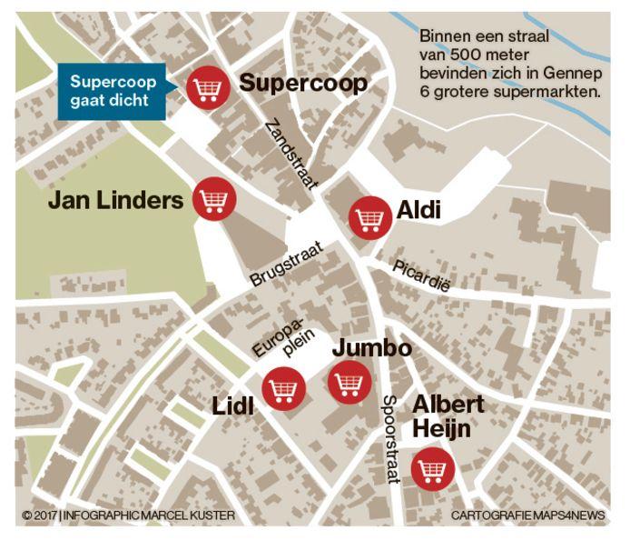 Kaart supers in Gennep.